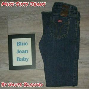 Miss Sixty Extra Low Rise Jeans Dark Flare Sz 26